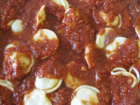 """Cheese"" & ""Sausage"" Ravioli with Marinara Sauce"