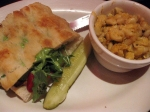 "Pesto ""Chicken"" Sandwich with Macaroni & Cheeze"