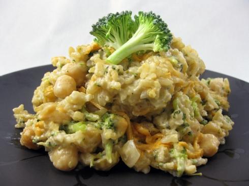 Cheesy Broccoli Rice Casserole with Chickpeas