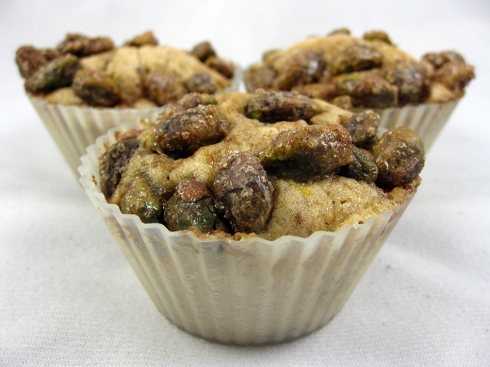 Cinnamon Banana Muffins with Candied Pistachios