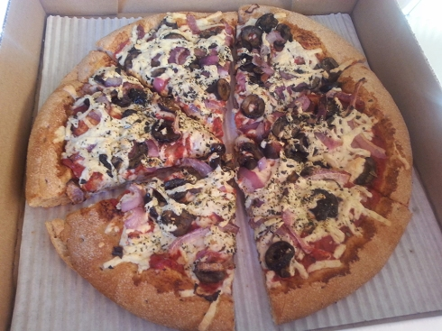 Black Olive, Garlic, Mushroom and Red Onion Pizza from Promise Pizza