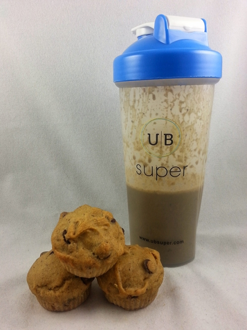 UB Super Gluten-Free Chocolate Chip Vanilla Muffins and UB Super Chocolate Shake